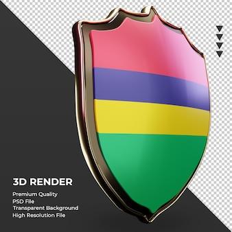 3d-schild mauritius vlag weergave linker weergave