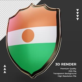 3d-schild niger vlag rendering juiste weergave