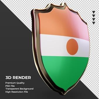 3d-schild niger vlag weergave linker weergave
