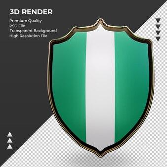 3d-schild nigeria vlag rendering vooraanzicht