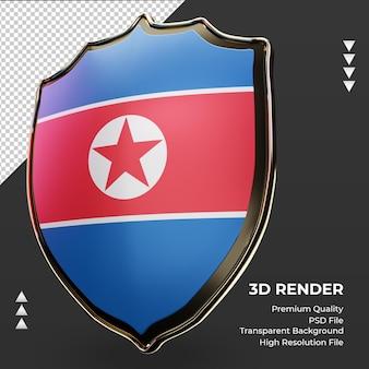 3d-schild noord-korea vlag rendering juiste weergave