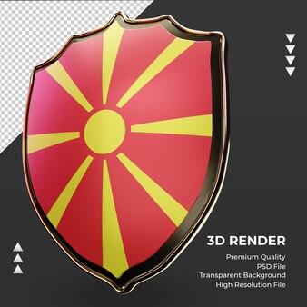 3d-schild noord-macedonië vlag rendering juiste weergave