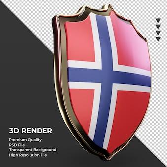 3d-schild noorwegen vlag weergave linker weergave