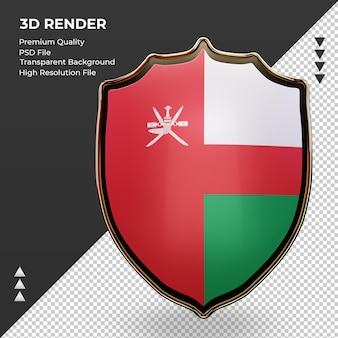 3d-schild oman vlag rendering vooraanzicht