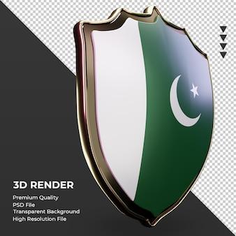 3d-schild pakistaanse vlag weergave linker weergave