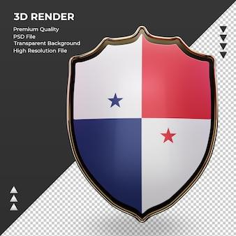 3d schild panama vlag rendering vooraanzicht