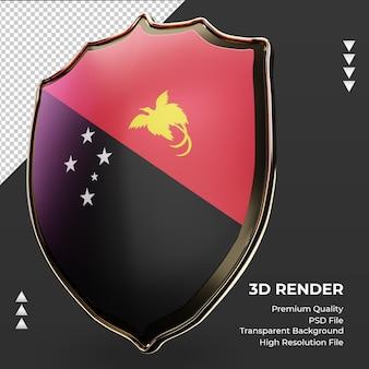 3d-schild papoea-nieuw-guinea vlag rendering juiste weergave
