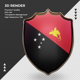 3d-schild papoea-nieuw-guinea vlag rendering vooraanzicht