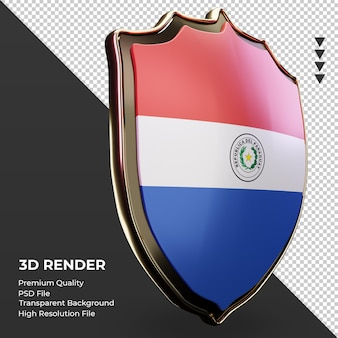 3d-schild paraguay vlag weergave linker weergave