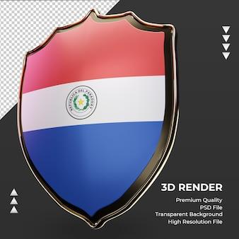3d-schild paraguayaanse vlag die de juiste weergave weergeeft