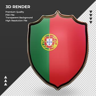 3d-schild portugal vlag rendering vooraanzicht