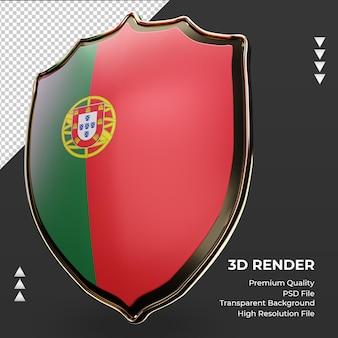 3d-schild portugal vlag weergave juiste weergave