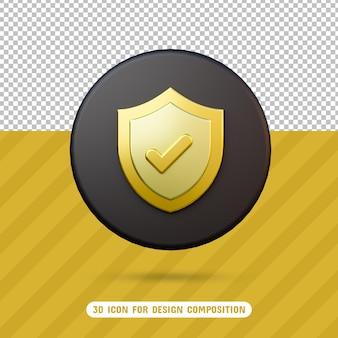3d-schildpictogram in 3d-rendering geïsoleerd