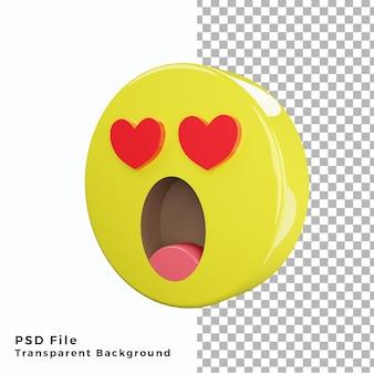 3d schok verliefd emoticon emoji icoon hoge kwaliteit psd-bestanden
