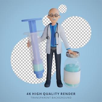 3d senior doctor met een grote illustratie van het karakter van een vaccininjectie