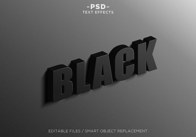 3d sign wall black effects texto editable