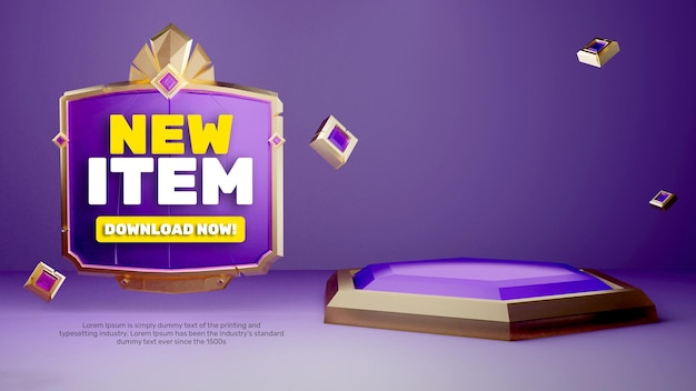 3d-sjabloon goud paars game look podium