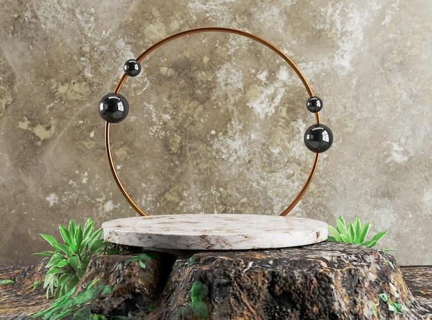 3d-sjabloon gouden ring podium op oude houten basis luxe achtergrond