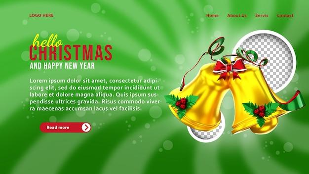3d-sjabloon voor bestemmingspagina voor kerstbel