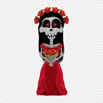 3d-skelet calavera katrina in een rode jurk het concept van de el dia de muertos-vakantie