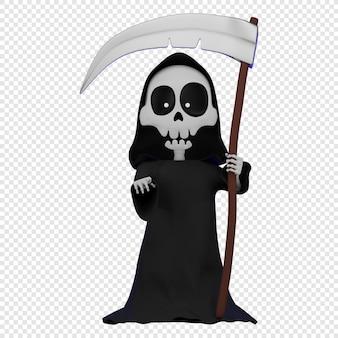3d skelet in zwarte mantel met een kap en een zeis in de hand dood met een zeis engel des doods