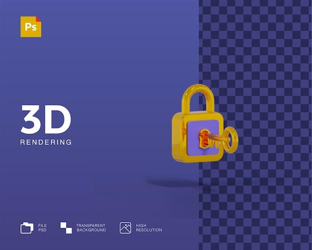 3d-slot met sleutelillustratie