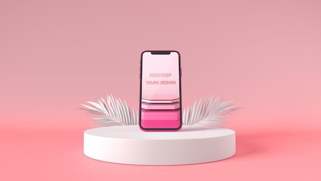 3d-smartphone mockup staan op wit voetstuk