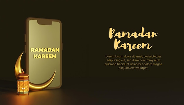 3d-smartphone ramadan kareem-sjabloon