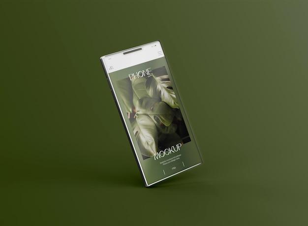 3d-smartphone scherm mockup zwevende. afbeelding niet inbegrepen