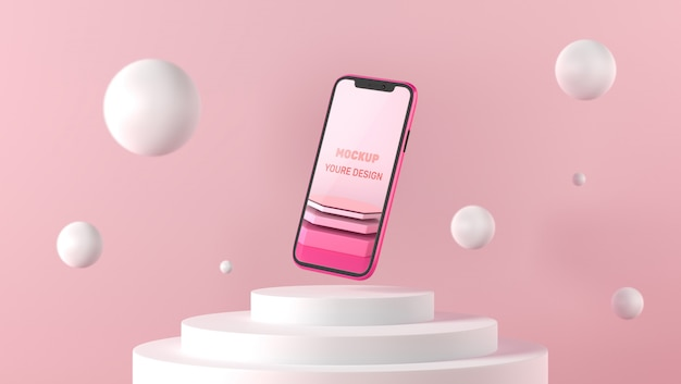 3d smartphonemodel op wit voetstuk