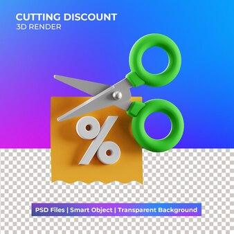 3d snijden korting illustratie geïsoleerd Premium Psd