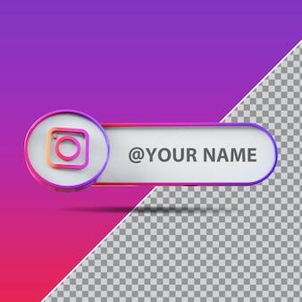 3d social media instagram-logo met labeltekstvak
