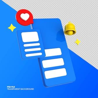 3d sociale media pictogrammen met smartphone