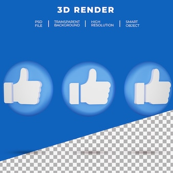 3d sociale media zoals het renderen van het knoppictogram