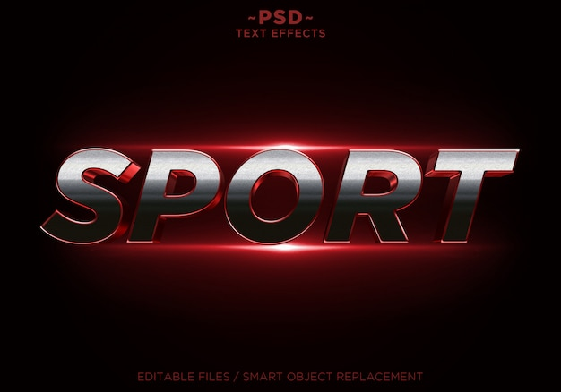 3d sport red glitter effects texto editable