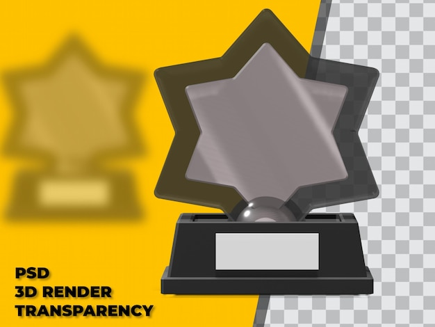 3d star trophy met transparante achtergrond