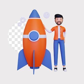 3d-startup met een mannelijk personage en een raket