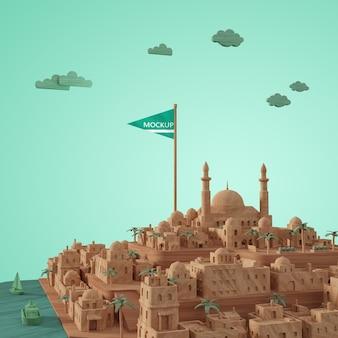 3d-steden landmark miniatuur model