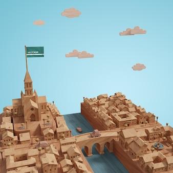 3d-steden landschap gebouwen model op tafel