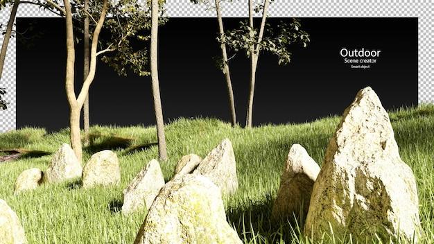 3d steengras en bomen render