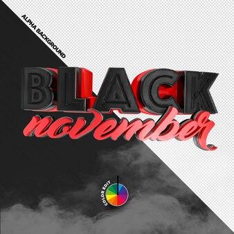 3d-stempel voor black friday-compositie black november-productpromoties