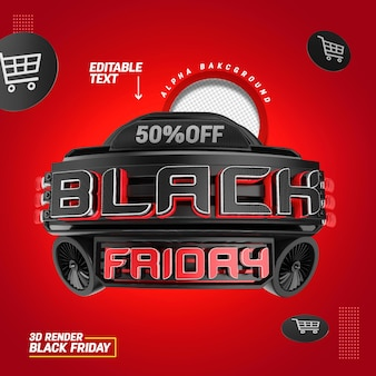 3d-stempel voor verkoop van zwarte vrijdag-composities en productpromotie