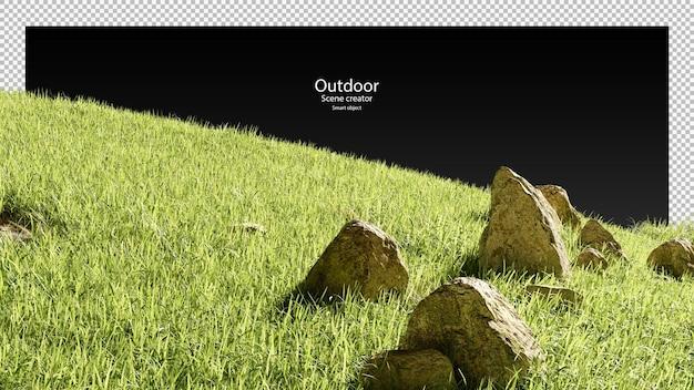 3d-stenen en grasveld