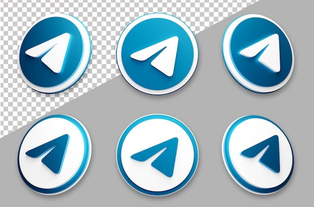 3d-stijl telegram social media logo set