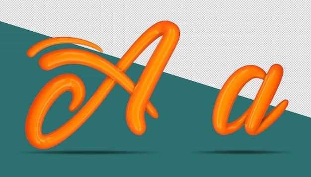 3d-stijl van de alfabetkalligrafie a.