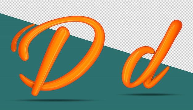 3d-stijl van de alfabetkalligrafie d.