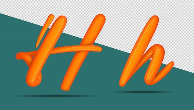 3d-stijl van de alfabetkalligrafie h