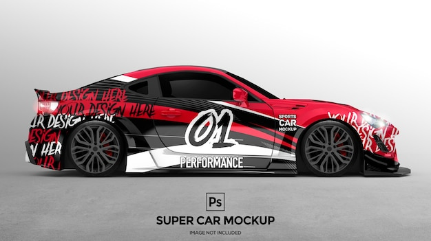3d super car mockup-ontwerppresentaties