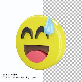 3d sweat smile emoticon emoji icon archivos psd de alta calidad
