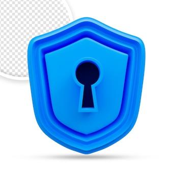3d symbool van het veiligheidsschild met sleutelslot